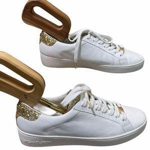 Michael Kors White/Gold Detailed Leather Sneakers